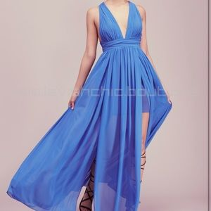 "Free People Blue ""Athea Drape Maxi Dress"""